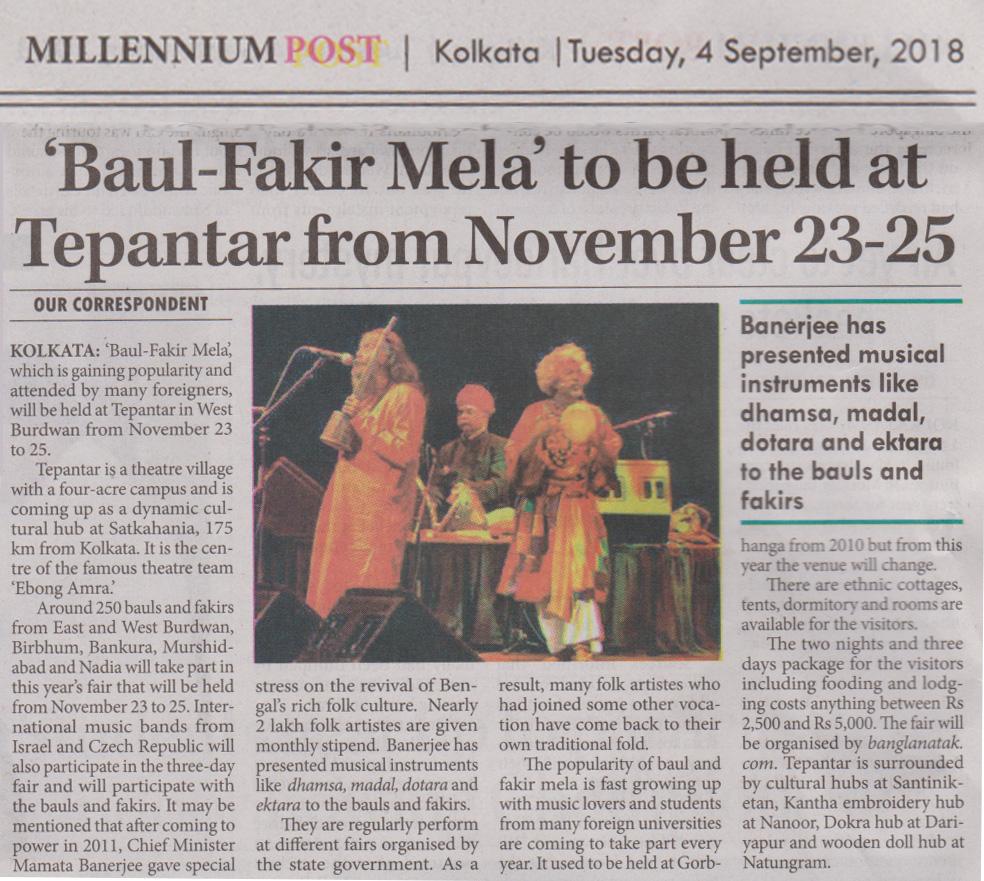 News clippings of Baul Fakir Mela at Tepantar_Millennium Post 4 September 2018