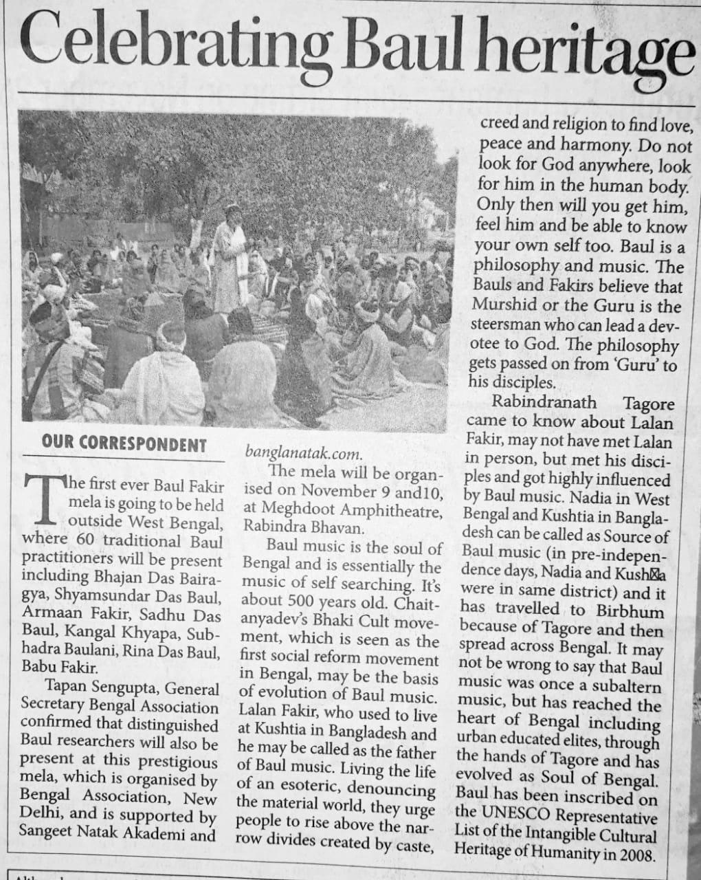 News clippings of Delhi Baul Fakir Mela on Nov 2019_email by Moumita